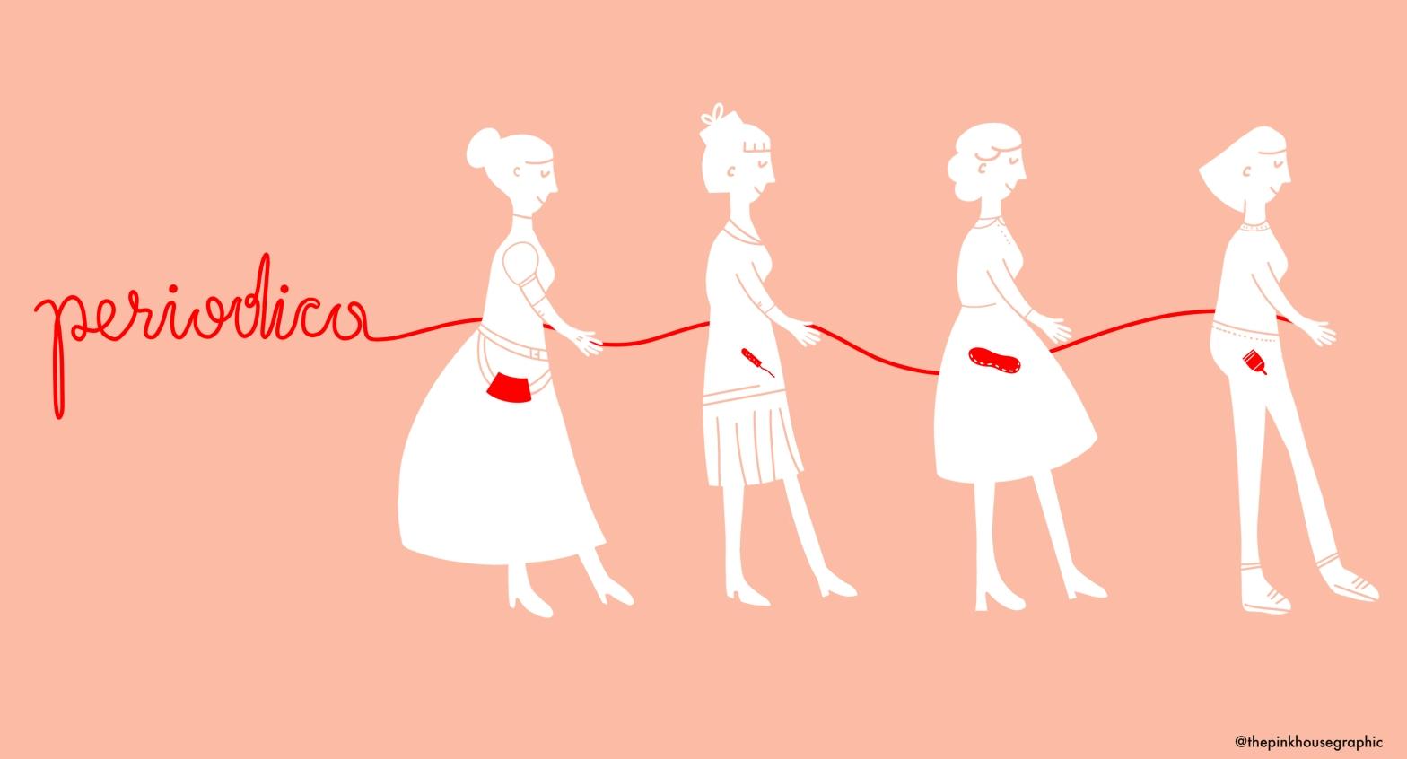 Una linea rossa accomuna diverse persone che indossano diversi supporti mestruali