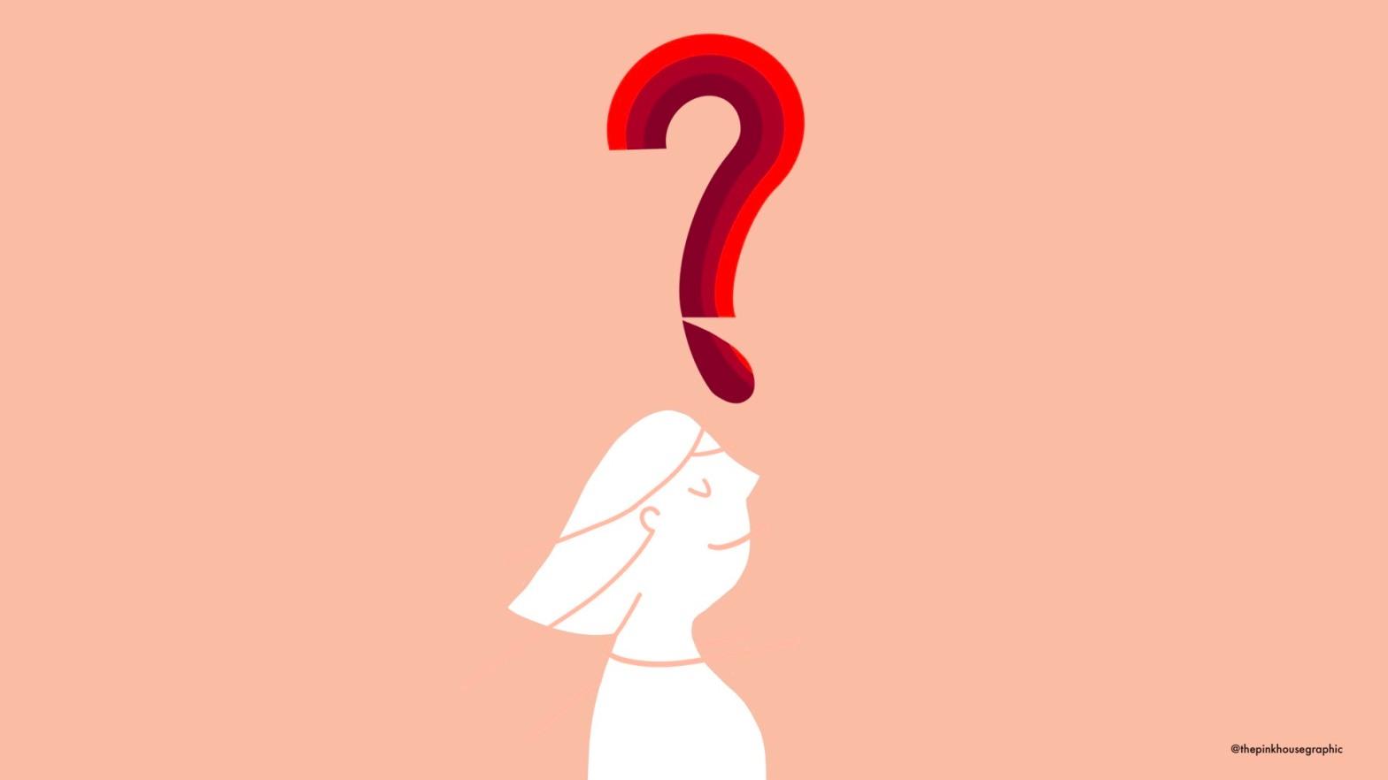 Una donna con un grande punto interrogativo sulla testa a forma di faccia di sangue