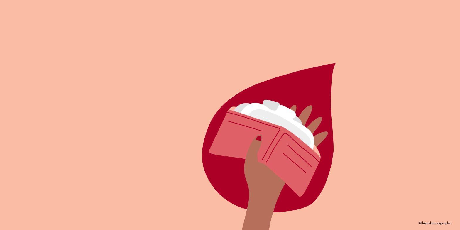 Immagine di un portafoglio colmo di assorbenti